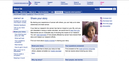 Screen grab from Cancer Research's website