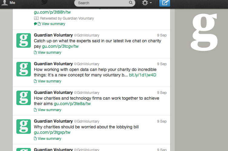 Guardian Voluntary twitter feed